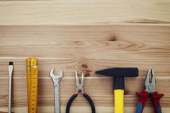 Work tools on wood Stock Image