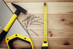 Work tools on wood Royalty Free Stock Images