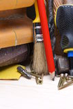 Work tools on wooden table royalty free stock photography