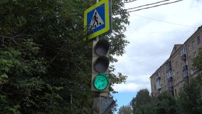 Traffic lights. The work of traffic lights in city stock video