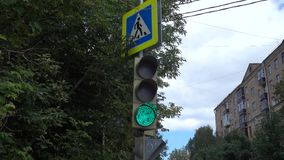 Traffic lights. The work of traffic lights in city stock video footage