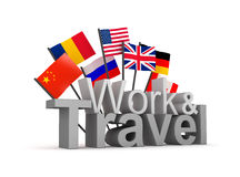 Work and travel 3D concept image. Isolated on white Stock Image