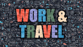 Work and Travel in Multicolor. Doodle Design. Stock Image