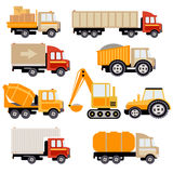 Work Trucks Flat Vector Set Royalty Free Stock Photography