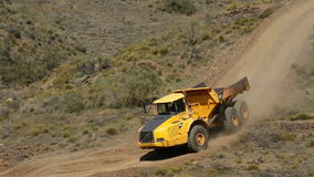 Work trucks working in mountain. A sunny day stock footage