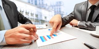 Work of two young businessmen Stock Images