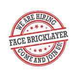 We are hiring face bricklayers - red stamp / label for print. Work with us! We are hiring face bricklayers! Grunge printable sticker / label designed for the stock illustration