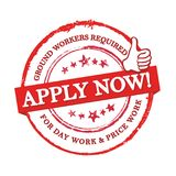 We are hiring ground workers - red stamp / label for print Royalty Free Stock Photos