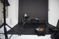 The work of a video camera in the studio Royalty Free Stock Photos