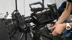 The work of a video camera in the studio stock video footage