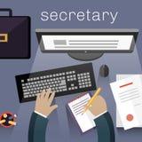 Work View Top Flat秘书设计 免版税库存图片