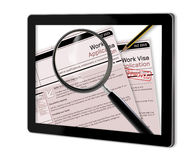 Work Visa Application. Close-up of work visa application document for temporary stay approved  show  on tablet  made in 2d software isolated on white Royalty Free Stock Photo