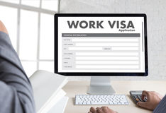 WORK Visa Application Employment Recruitment to Work businessma stock image