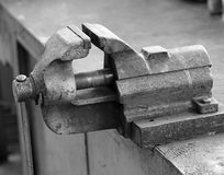 Work in a vise Workbench of a blacksmith in a mechanical worksho Royalty Free Stock Photography
