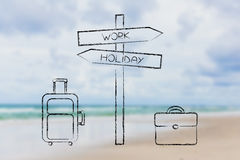 Work vs Holiday street next to travel and business bags Royalty Free Stock Photo