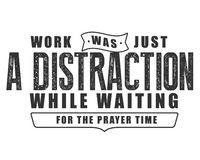 Work was just a distraction while waiting for the prayer time royalty free illustration