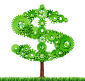 Work and wealth. Making money and building wealth symbol represented by a growing tree in the shape of a dollar sign made of gears and coggs showing the concept stock illustration