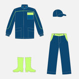 Work wear. Set of jeans work wear jacket and trousers Stock Images