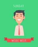 Work Week Emotive Vector Concept In Flat Design Stock Photo