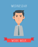 Work Week Emotive Vector Concept In Flat Design Royalty Free Stock Images