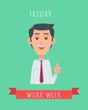 Work Week Emotive Vector Concept In Flat Design Stock Images