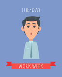 Work Week Emotive Vector Concept In Flat Design. Work week emotive concept. Perplexed brunet man in shirt and tie flat vector illustration. Tuesday confused mood Stock Photos