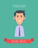Work Week Emotive Vector Concept In Flat Design Stock Photos