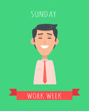 Work Week Emotive Vector Concept In Flat Design. Work week emotive concept. Happy brunet man in shirt and tie smiling with closed eyes flat vector illustration Stock Photo