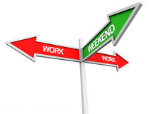 Work weekend. Weekend and work week concept, a two way work signboard and one way weekend pointer Stock Image