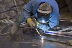 Work of the welder. On object Stock Photos