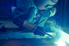 Work a welding workers in factories. Welding work issued strong dazzling rays of light Stock Image