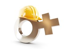 Work for Women , symbol Women construction helmet. On a white background Royalty Free Stock Photography