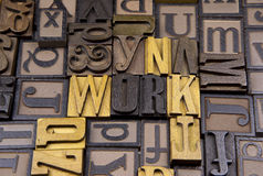 Work in wooden typeset. The word Work surrounded by random typeset Stock Image