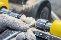 Work on woodworking lathe Stock Photography