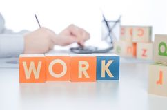 WORK word with colorful blocks Royalty Free Stock Images
