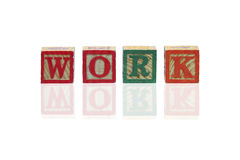 Work word by Toy. Toy using as Work concept Stock Photography