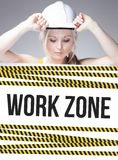 Work zone sign on information poster, worker woman Stock Image