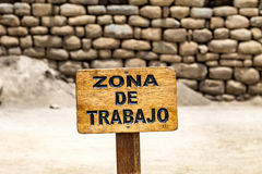 Work zone sign. Machu Picchu, Cusco, Peru, South America. Stock Images