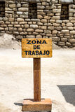 Work zone sign. Machu Picchu, Cusco, Peru, South America. Royalty Free Stock Image
