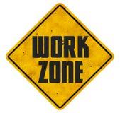 Work Zone Sign Road Ahead grunge business signs. Slogan logo art metal vintage men at work royalty free stock photos