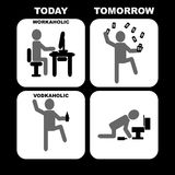 Workaholic εναντίον Vodkaholic Στοκ εικόνα με δικαίωμα ελεύθερης χρήσης