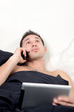 Workaholic in Bed Stock Photos