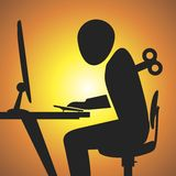 Workaholic. The men is a workaholic. Vector format Royalty Free Stock Photos