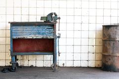 Workbench. Nostalgic prompt from old tools Stock Photography