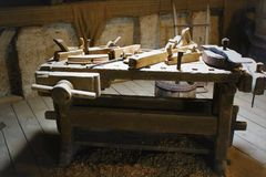 Workbench in attic. Old wooden workbench from an old attic Royalty Free Stock Images
