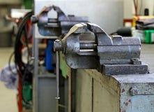 Workbench inside a mechanical workshop Stock Photography