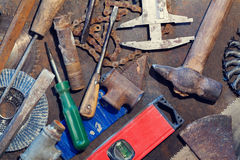 Workbench metal table with old tools Stock Images