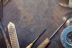 Workbench metal table with old tools Stock Image