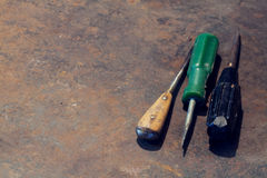 Workbench metal table with old tools Royalty Free Stock Photography