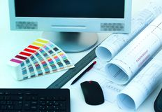 Workbench of office design of architecture Royalty Free Stock Image